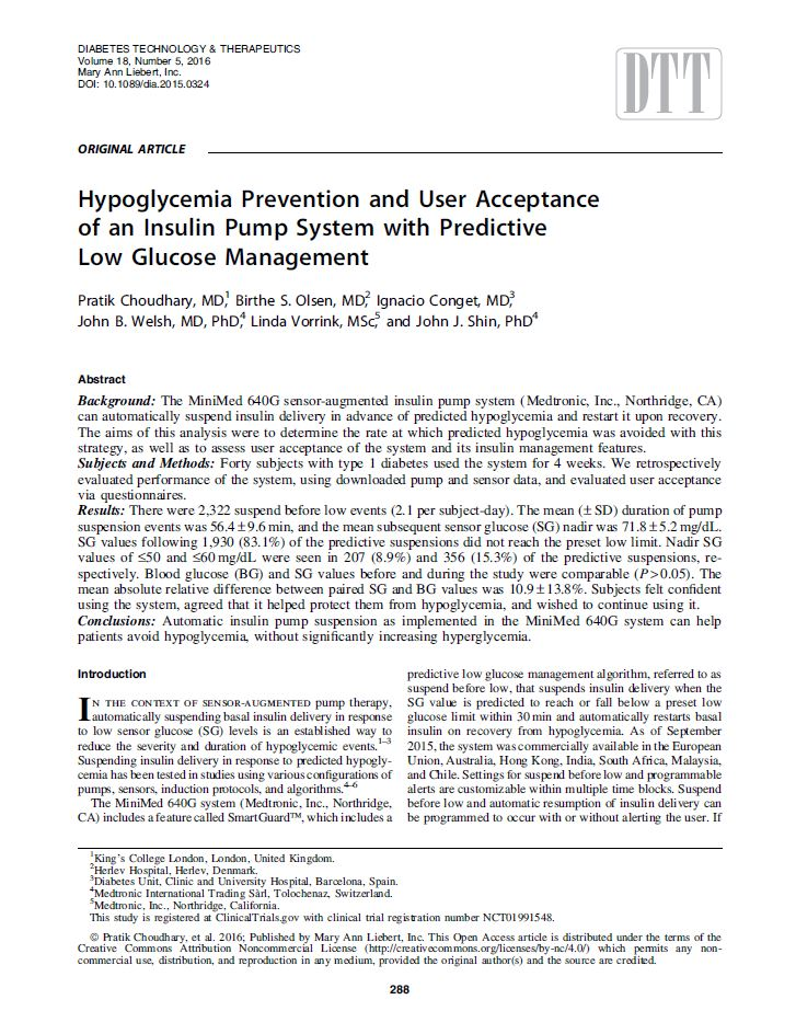 Hypoglycemia Prevention and User Acceptance of an Insulin Pump System with Predictive Low Glucose Management